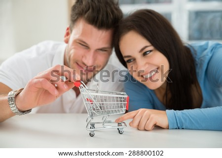 Close-up Of Smiling Young Couple Looking At Miniature Empty Shopping Cart - stock photo