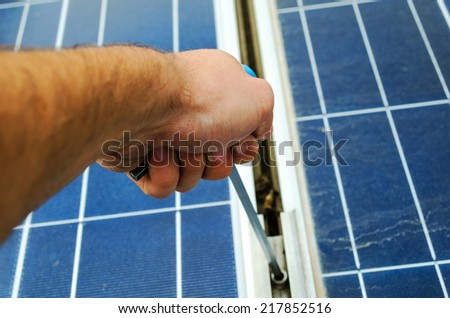 Close up of Solar Panel Clamp Mount - stock photo