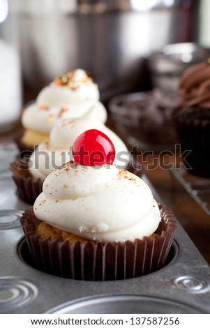 Close up of some decadent gourmet cupcakes frosted with a variety of icing flavors and toppings.