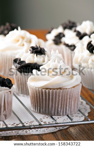 Close up of some decadent gourmet cupcakes with chocolate and vanilla frosting. Shallow depth of field. - stock photo