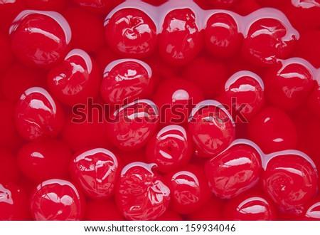Close-up of some maraschino cherries - stock photo