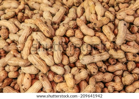 close-up of some peanuts. background - stock photo