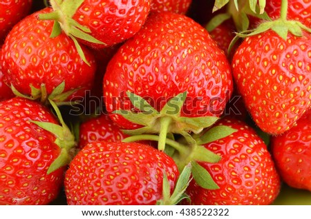 Close up of some red ripe strawberry, DOF - stock photo