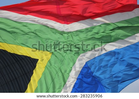 Close-up of South African flag - stock photo