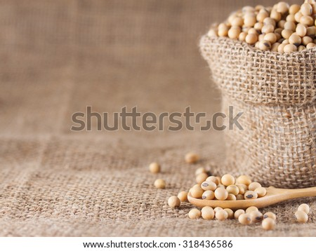 Close up of soy beans over textile background - stock photo