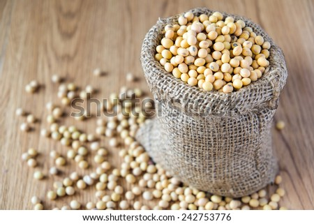 close up of soy beans, selected focus at soy bean in the sack  - stock photo