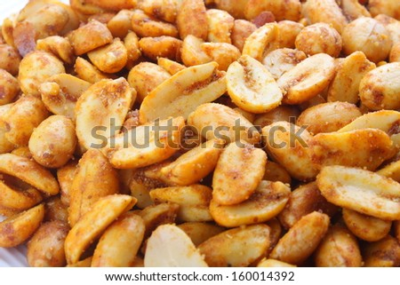 Close up of Spiced fried Peanuts-A popular all time snack. - stock photo