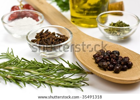 Close up of spices on white background - stock photo
