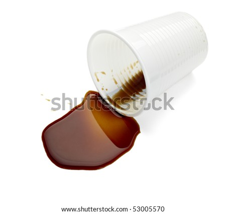 close up of spilled coffee on white background with clipping path - stock photo