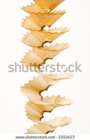 Close up of spiral pencil shavings. - stock photo