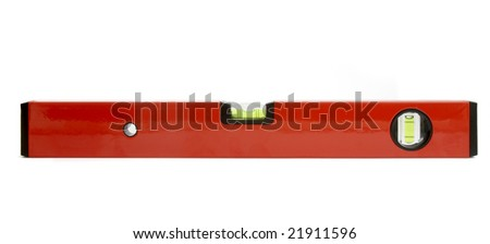 close up of spirit level for construction workers on white background with clipping path - stock photo