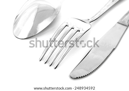 Close up of spoon, fork  and knife isolated on white