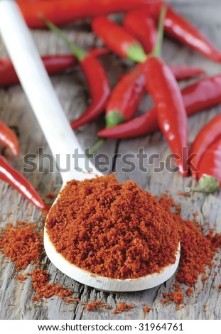 close up of spoon heaped with chilli powder with red chillies in background - stock photo