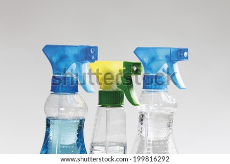 Close up of spray bottles