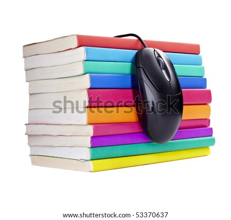 close up of stack of colorful books and computer mouse on white background, with clipping path included - stock photo