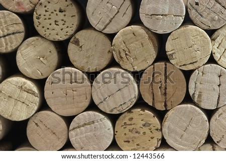 Close up of stack of corks