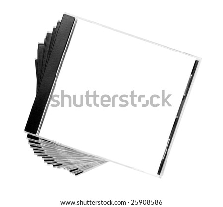 close up of stack of disk cases on white background with clipping path - stock photo
