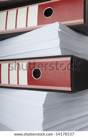 close up of stack of papers and files - stock photo