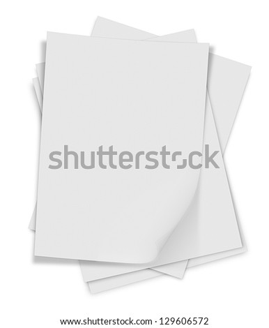 close up of stack of papers with curl on white background - stock photo