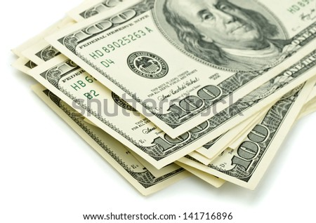 Close up of stack one hundred dollar bills - stock photo