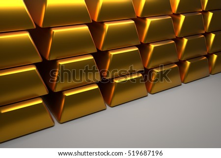 Close up of stacked gold bars with space for text, 3d rendering