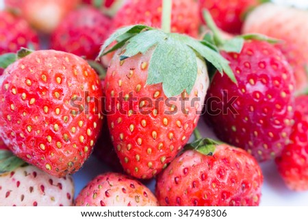 Close up of strawberry. - stock photo