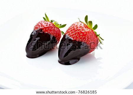 close up of strawberry with on white background - stock photo
