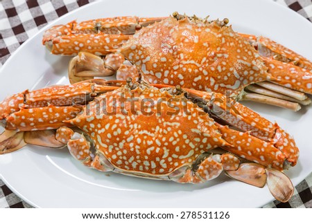 Close up of streamed blue crabs (sand crab) - stock photo