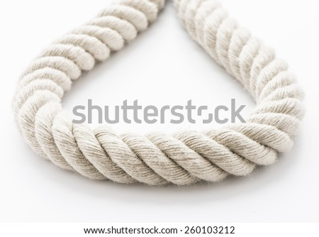 Close up of strong hemp rope on white background.