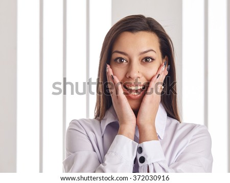Close up of surprised businesswoman. - stock photo