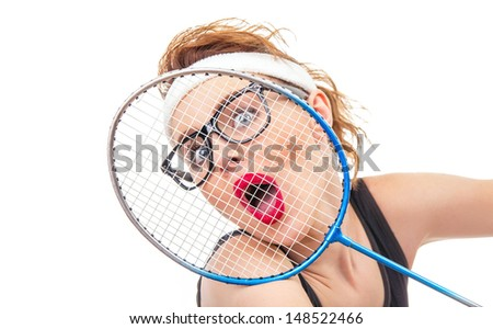 Close-up of surprised tennis player woman, funny concept - stock photo