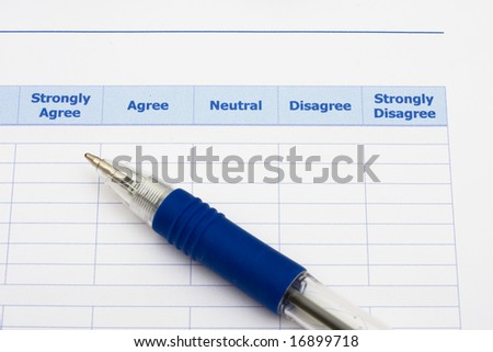 Close up of survey with blue pen, excellent customer service - stock photo