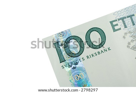 Close-up of 100 Swedish Kronor (SEK) banknote isolated on a white background - stock photo