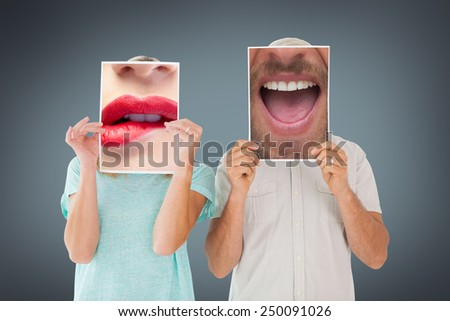 Close up of talking man against grey vignette - stock photo