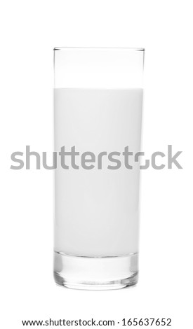 Close up of tall glass of milk. Isolated on a white background.