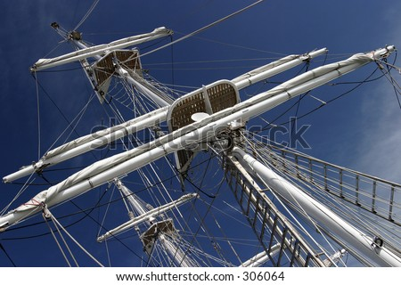 Close-up of tall ship's masts