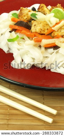Close-up of tasty chinese noodles with vegetables - stock photo
