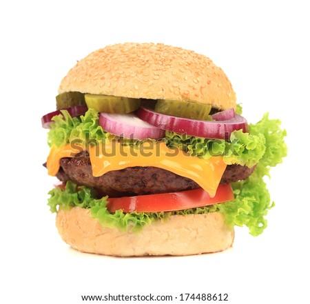 Close up of tasty hamburger. Isolated on a white background. - stock photo