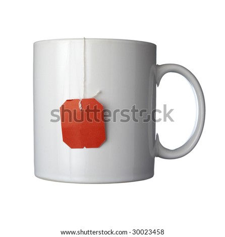 close up of tea bag and coffee cup on white background with clipping path