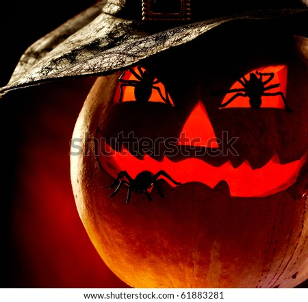 Close-up of terrible pumpkin with spiders - stock photo