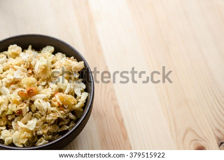 Close up of Thai sweet rice crispy, sneak in relax time - stock photo