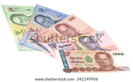 Close up of thailand currency isolated on white with Clipping Path. Denomination of 20,50,100,500,1000 bahts. - stock photo