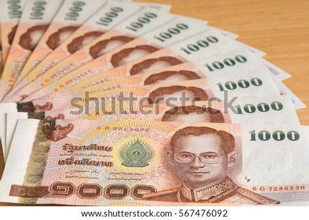 Close up of thailand currency, thai money.