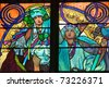 Close-up of the Art Nouveau stained glass window by Alfons Mucha, St. Vitus Cathedral, Prague - stock photo