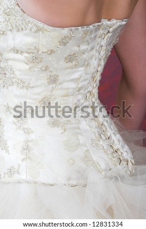Close-up of the back of a Wedding Gown