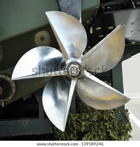 Close up of the back of boat propeller - stock photo