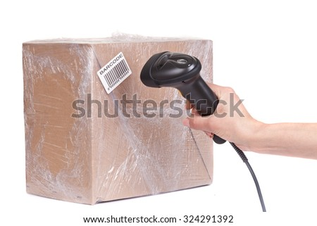 Close up of the barcode scanner during scanning of boxes of goods,  isolated on white background. Studio short. - stock photo