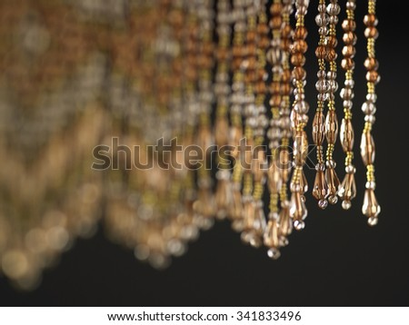close up of the Beaded curtain