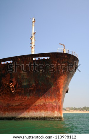 Close up of the bow of the River Princess Goa India - stock photo