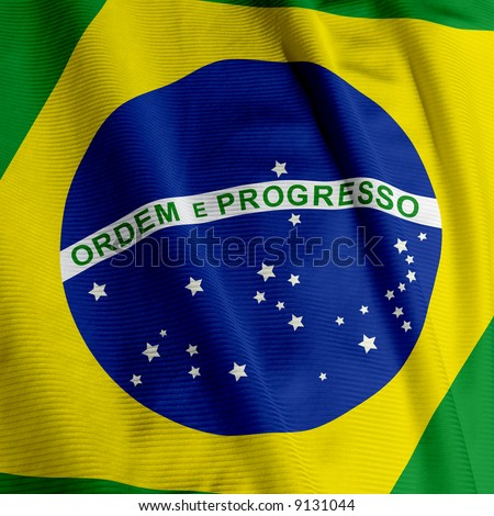 Close up of the Brazilian flag, square image - stock photo